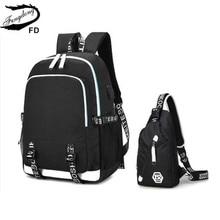 Fengdong female travel laptop backpack school bags for girls sling shoulder chest bag set black waterproof school backpack