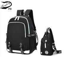 Fengdong weibliche reise laptop rucksack schule taschen für mädchen schlinge schulter brust tasche set schwarz wasserdicht schule rucksack