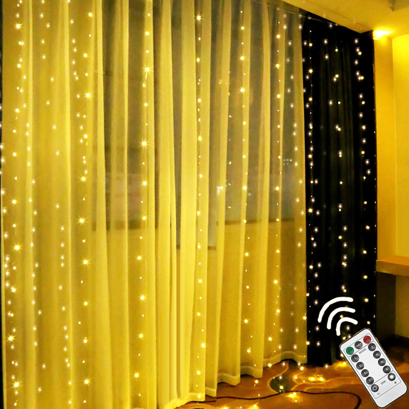 LED Curtain String Lights Fairy Garland Remote Control 3M USB 7 Flash Modes For New Year Christmas Outdoor Wedding Home Decor