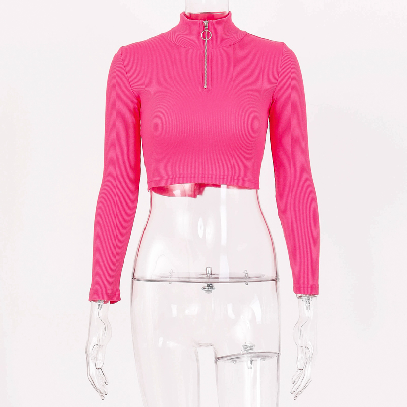 Hugcitar 2019 long sleeve zipper patchwork sexy crop tops autumn winter women neon bodycon T-shirts streetwear club party outfit