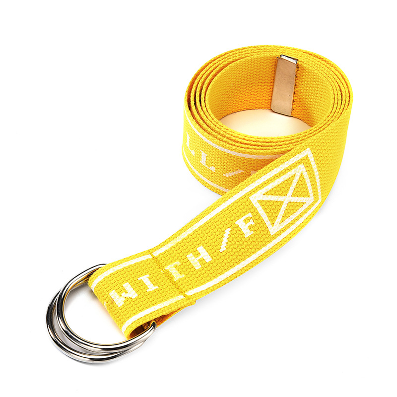 TagerWilen ремень стиль буквы напечатаны мода унисекс двойное D Кольцо холст ремень длинные джинсы ремни для женщин брезентовый мужской ремень - Цвет: Weded-Yellow
