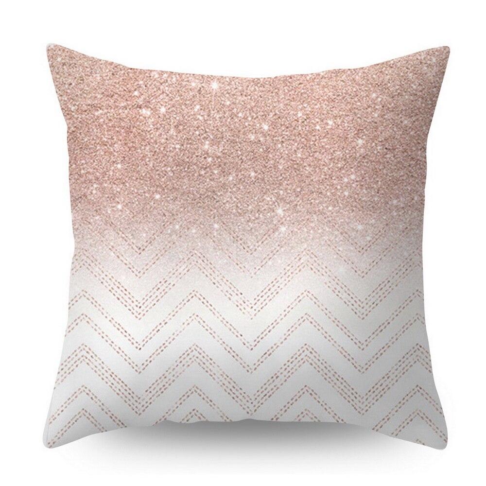 Розовое золото квадратная подушка крышка с геометрическим рисунком сказочной подушка чехол полиэстер декоративная наволочка для подушки для домашнего декора размером 45*45 см - Цвет: Небесно-голубой