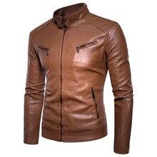 Куртка мужская кожаная на молнии, мотоциклетная Повседневная винтажная верхняя одежда, Байкерский дизайн с карманами, из искусственной кожи, осень