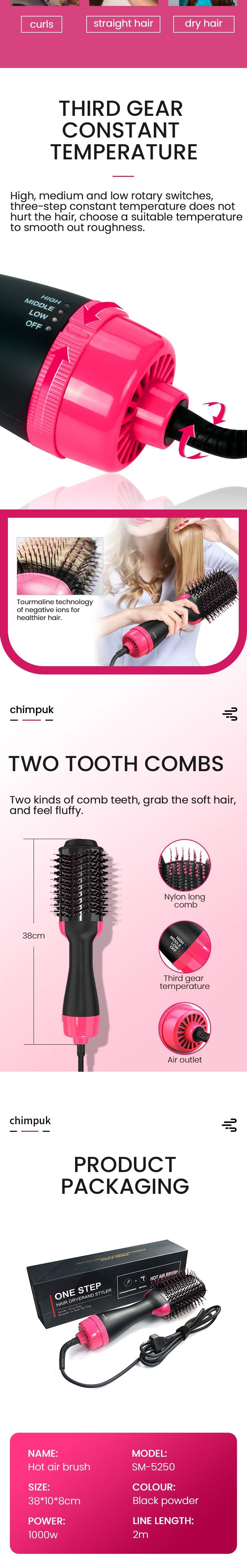 volumizador para um passo, modelador e secador de cabelo soprar