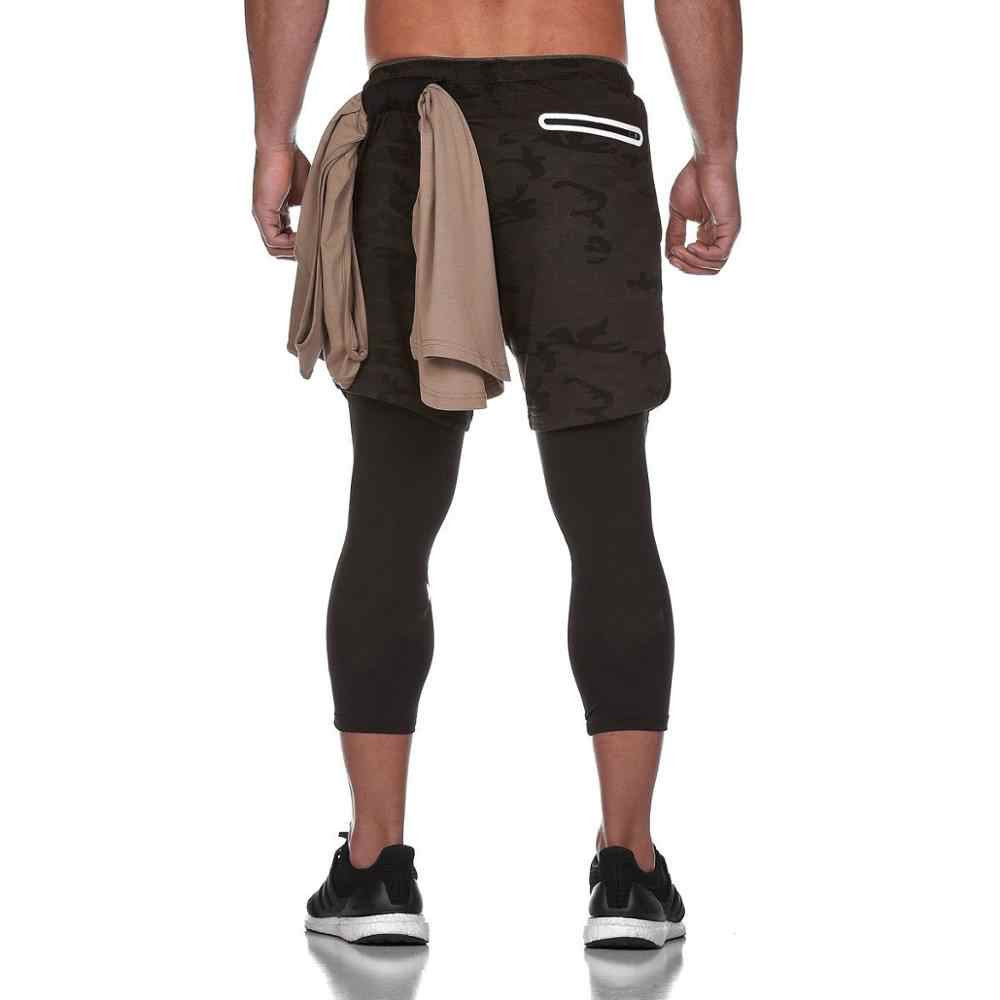 Quick Drying Running Shorts Men's 2 in 1 Security Pocket Pants Men Leisure Shorts Hips Hiden Zipper Pockets Built-in Pockets