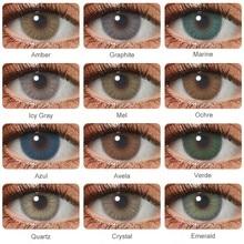 Hidrocor colorido lente de contato para os olhos 1 par natural olho contatos anual verde lentes de contato cor azul cinza olho contatos