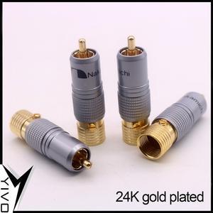 Image 2 - 8 pçs yivo xssh hi end alta fidelidade diy latão 62% chapeamento de cobre 24k ouro macho áudio vídeo rca plug conector plugues jack