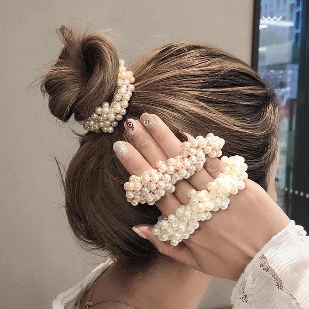 2020 NEUE Frauen Elegante Perle Haar Krawatten Perlen Mädchen Scrunchies Gummibänder Pferdeschwanz-halter Elastische Haar Band Haar Zubehör