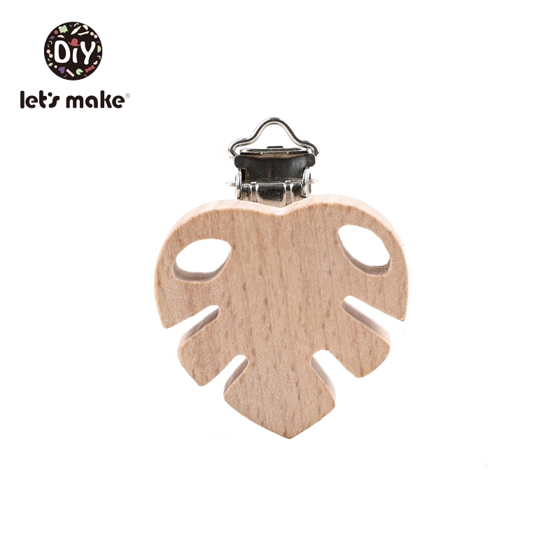 Let's Make Wooden Rodent Pacifier Clip Hole 10pcs Maple Beech Printing Animal Custom Logo Cartoon Animal Food Grade Baby Teether