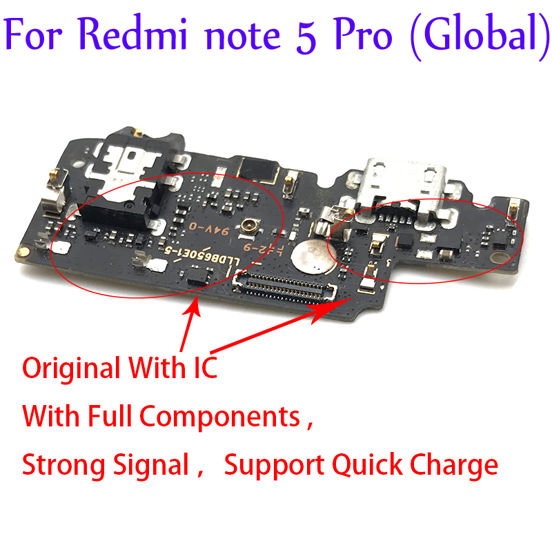 New Dock Charger Connector USB Charging Port Flex Cable For Xiaomi Redmi Note 5 Note5 Pro Global USB Flex Cable Repair Parts