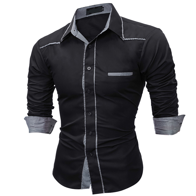ZUSIGEL 2019 New Fashion Square Collar Color Patchwork Long Sleeve Men Shirt Slim Fit Single Breasted Shirts Men EU Size image
