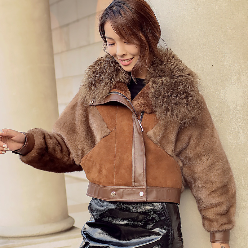 Natural Fur Coat Female Winter Mink Fur Sleeve Jacket Women Vintage Double Faced Jackets 100% Real Fur Coat Tops Hiver Mlw6006y