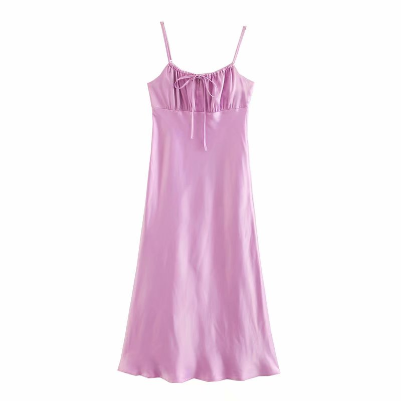 2020 Women sexy spaghetti strap pink midi dress female Chic sleeveless pleated Vestidos backless inner Dresses Mujer DS3516