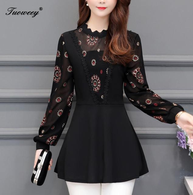 2019 New Arrival Fashion autumn long sleeve floral casual Shirt Female Casual see throughPlus Size elegant Printed Blouse 1