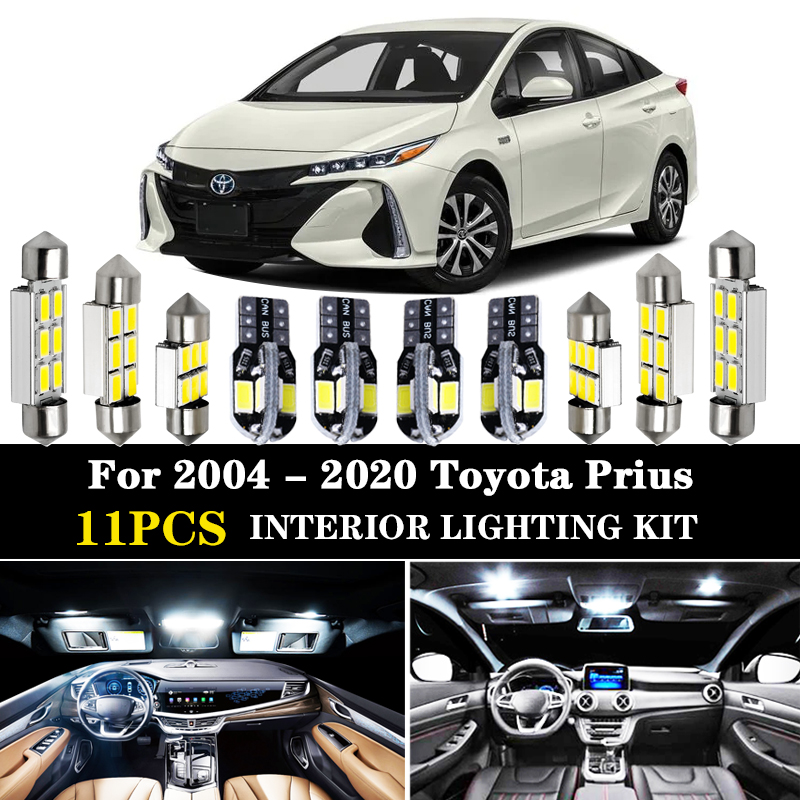 Kit de lumières intérieures led blanches | 11 pièces pour Toyota Prius 2004 - 2020 20 30 40 50 NHW20 ZVW30 ZVW40 ZVW55
