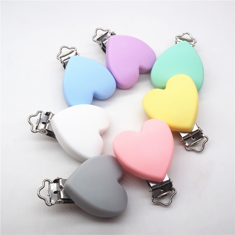 Chengkai 100pcs Silicone Heart Bear Round Teether Pacifier Chain Clips DIY Craft Baby Soother Nursing Accessories Holder Clips