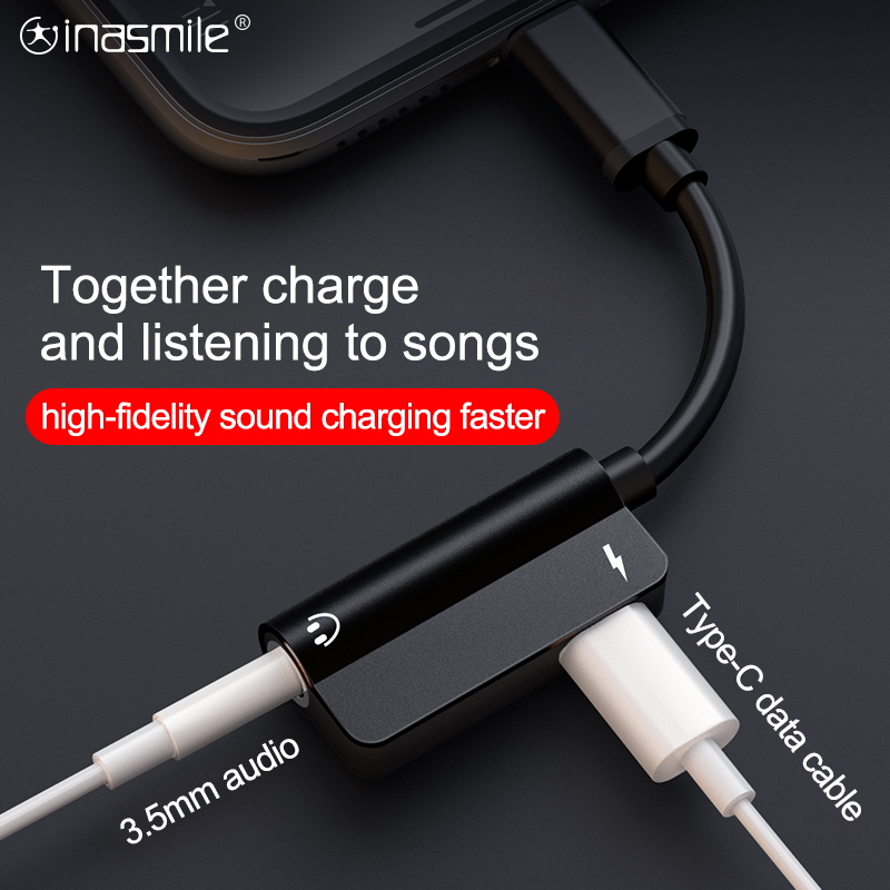 2 In 1 USB C Audio Cable Type C To 3.5mm Jack Audio Earphone Call Music Charging Adapter For Xiaomi Samsung Huawei HTC Adapter