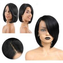 FAVE koronki przodu 9*1.8 głębokie przedziałek z boku peruka czarny kolor proste krótkie peruki w stylu bob ramię długość przodu koronki dla kobiet peruki syntetyczne