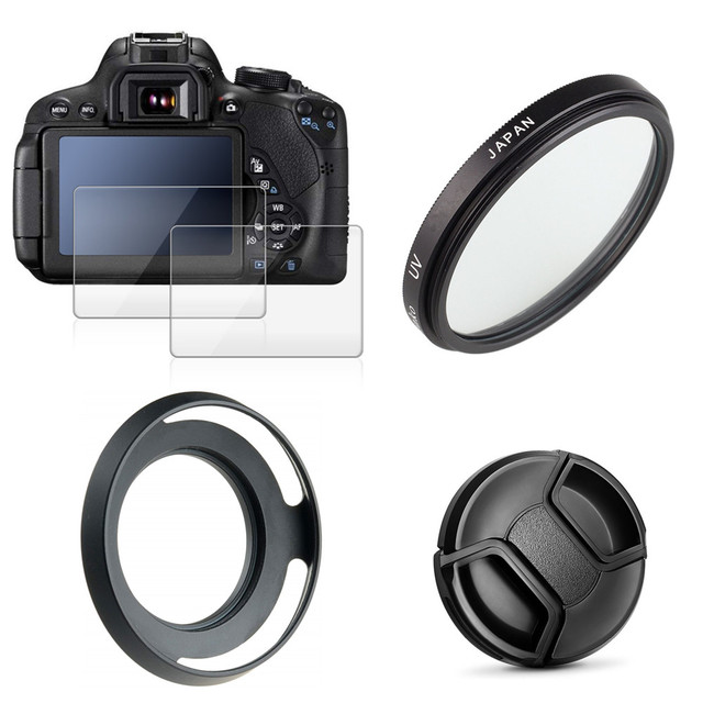 46mm UV Filter + Metal Lens Hood + Cap + 9H Tempered Glass LCD Screen Protector for Nikon Z50 camera with 16 50mm lens