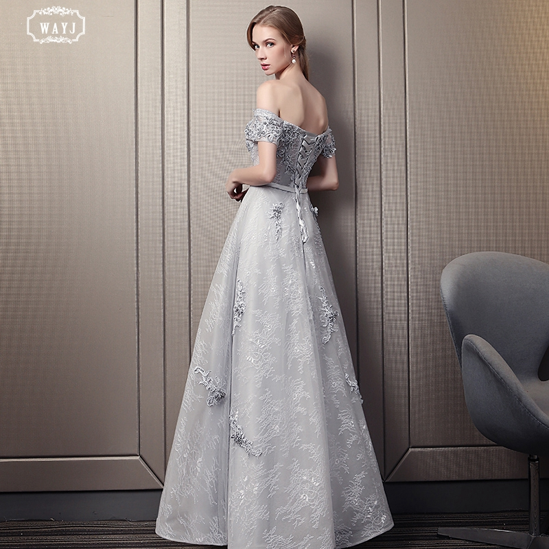 WAYJ New Evening Dress Queen Style Long Silver Grey Off The Shoulder Tie Lace Fabric Decal Pearl Bridal Gown Elegant Fashion