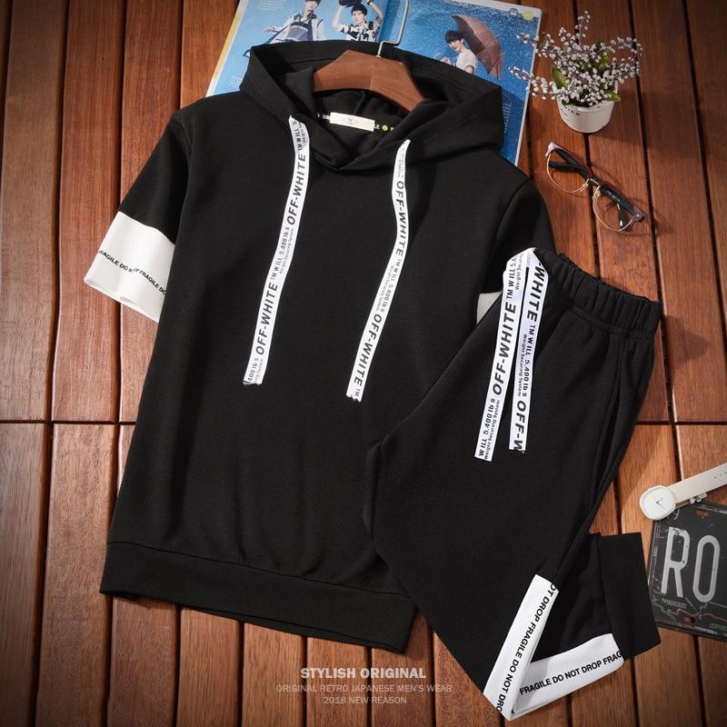 YASUGUOJI New Summer Half-sleeve Hooded Hoodies And Knee-length Pants 2 Piece Set Men Set Hoodies Sportswear Mens Track Suit Set