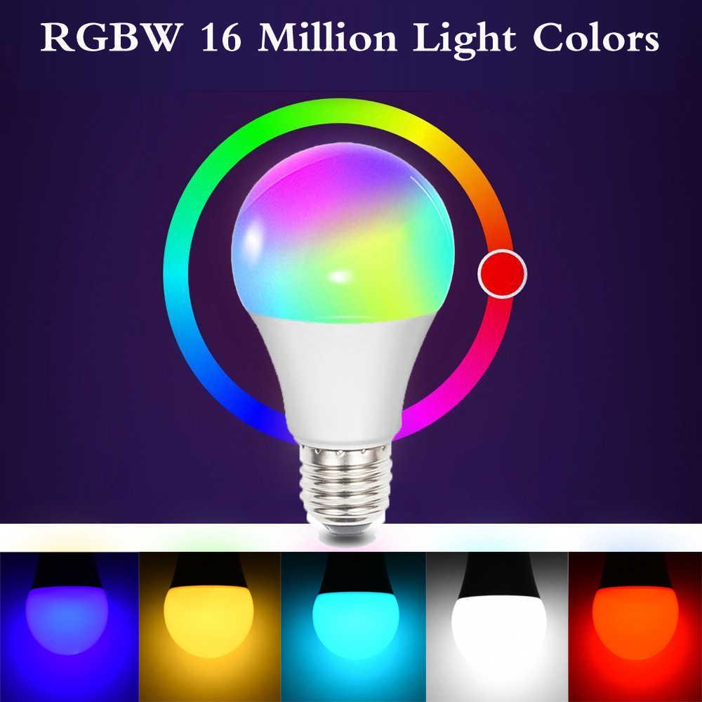 Ampoule intelligente de lumière LED de WIFI 10W E27 B22 E14 couleur intelligente de lampe de Bluetooth de la maison RGBW Compatible avec le ampoule LED intelligente à la maison d'alexa google
