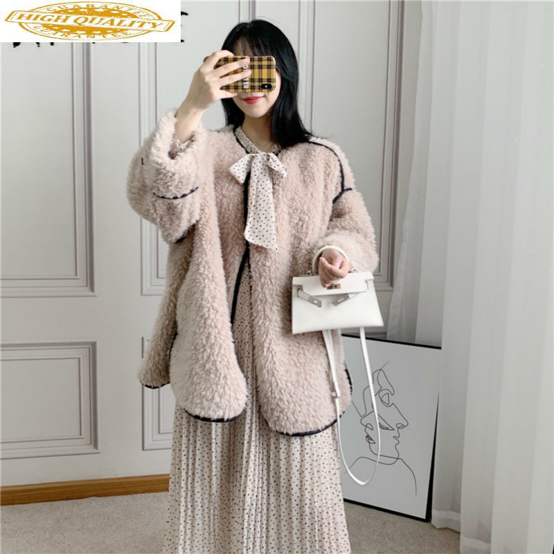 Real Fur Coat Women 100% Lamb Fur Jacket Women Clothes 2019 Sheep Shearling Korean Autumn Winter Coat Women 818800 YY1910