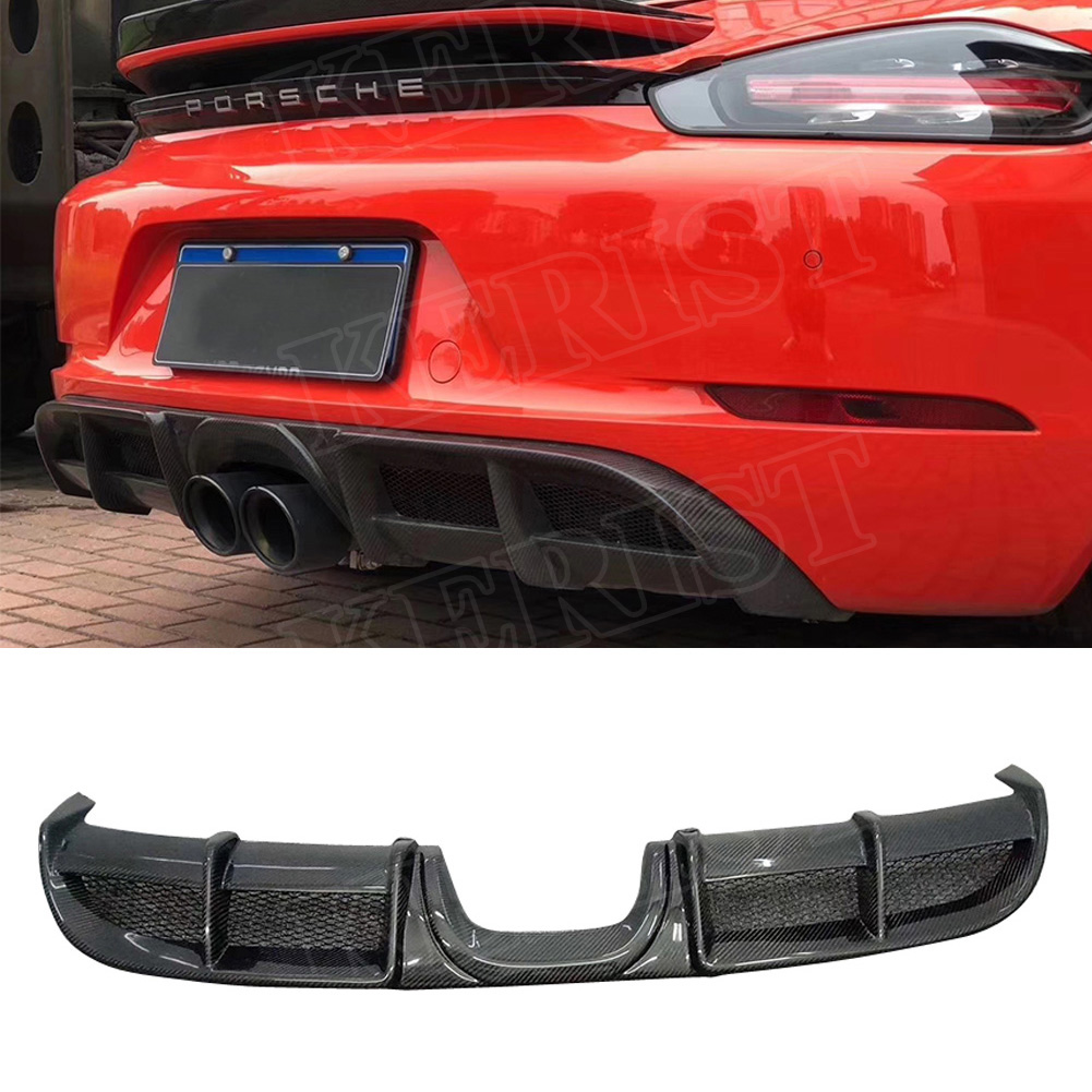 for Porsche <font><b>718</b></font> <font><b>boxster</b></font> cayman 2017-up Carbon Fiber diffuser Car Styling image