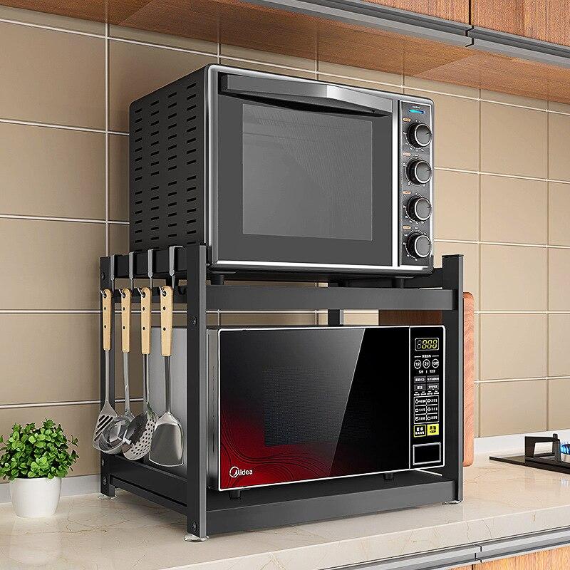 Stainless steel microwave oven shelf Kitchen oven rack Bracket floor storage rack kitchen accessories organizer