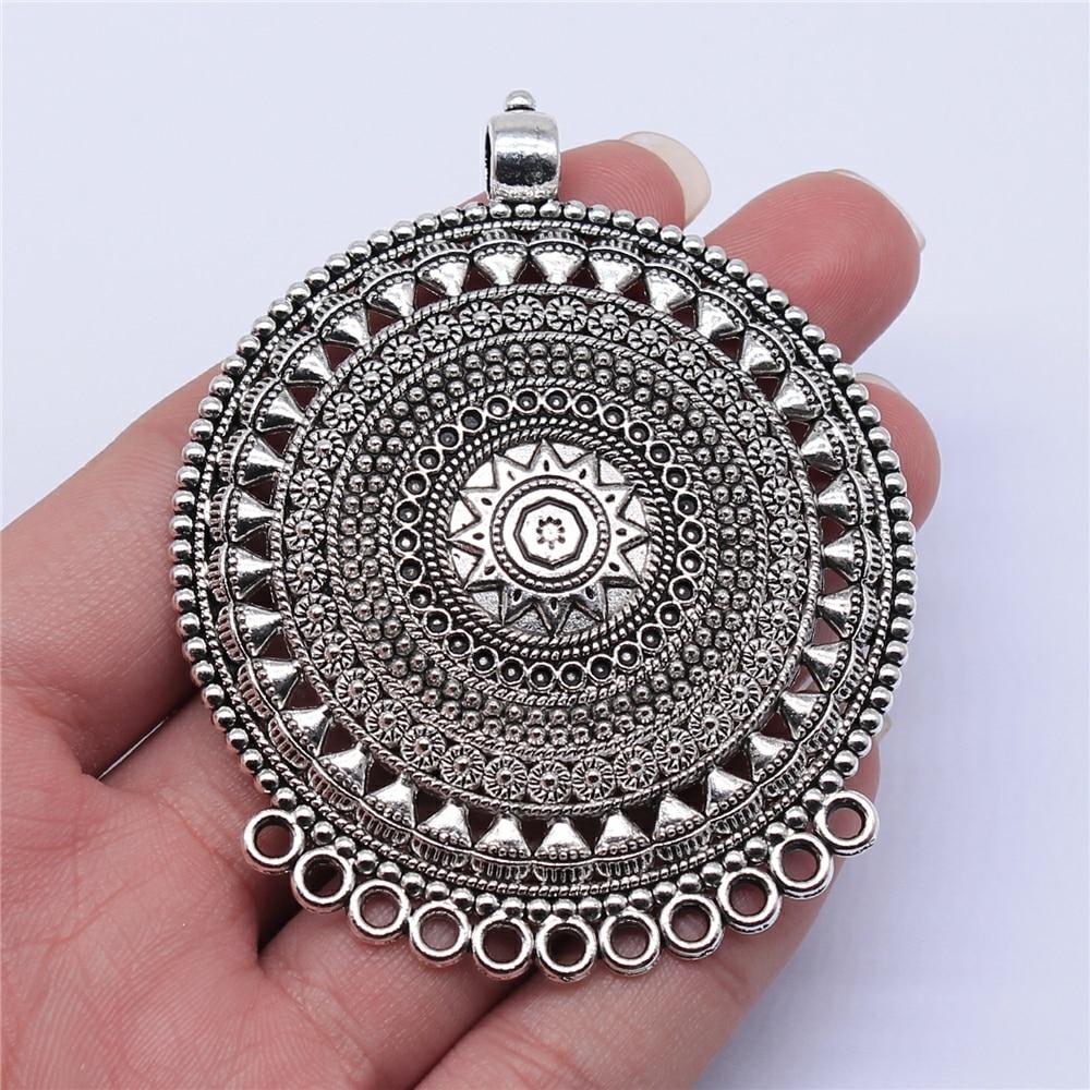 WYSIWYG 1 шт. 74x60 мм старинное серебро Цвет резной круглой ожерелье соединитель подвеска-Шарм для DIY ювелирных изделий