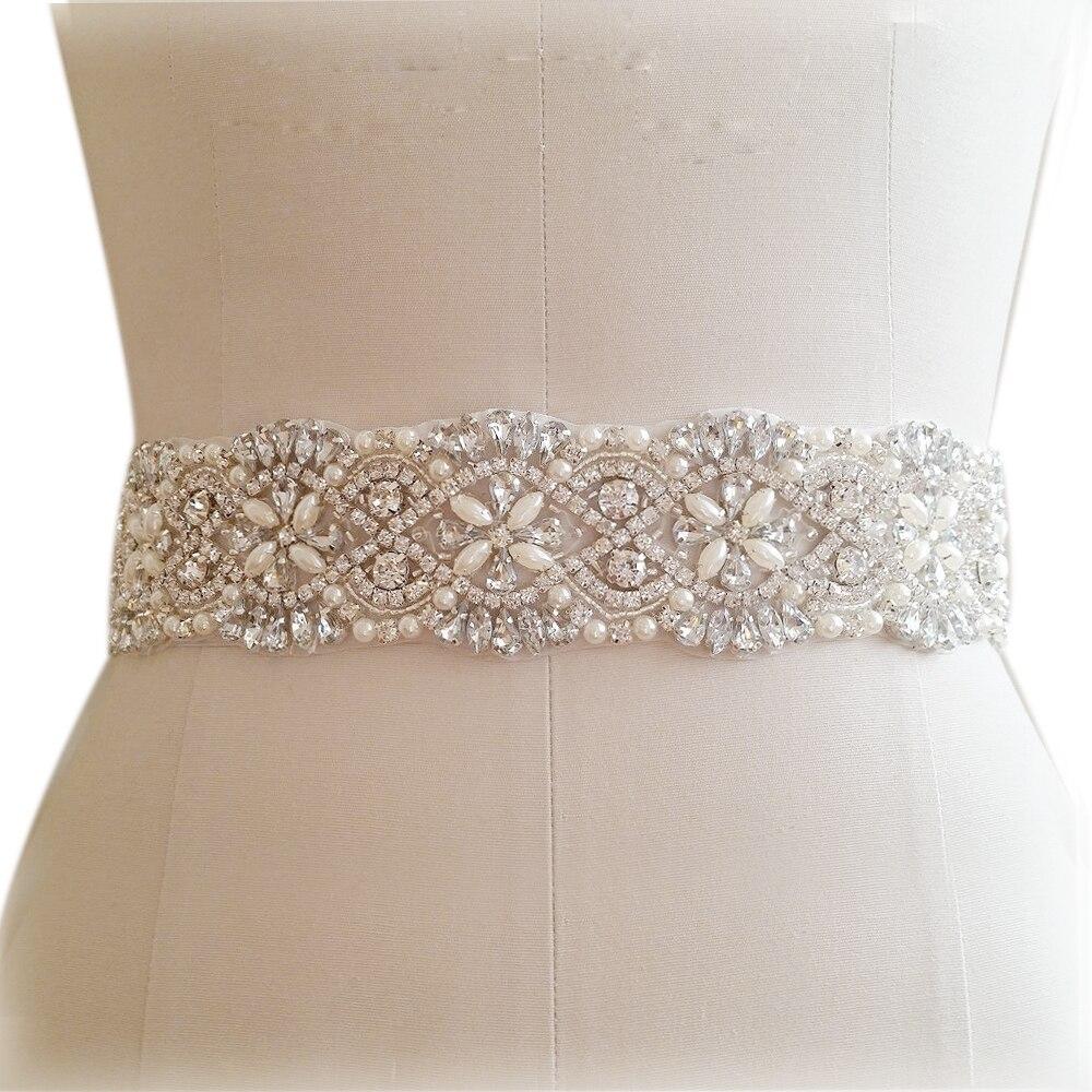 TRiXY S04B Luxury Silver Rhinestones Belt Bridal Belt Crystal Pearls Belt Sash Wedding Belt Sash For Bridal Bridesmaids Dress