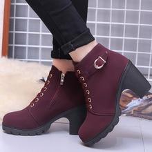 купить Boots Women Shoes Women Fashion High Heel Lace Up Ankle Boots Ladies Buckle Platform Artificial Leather Shoes Bota Feminina 2019 дешево