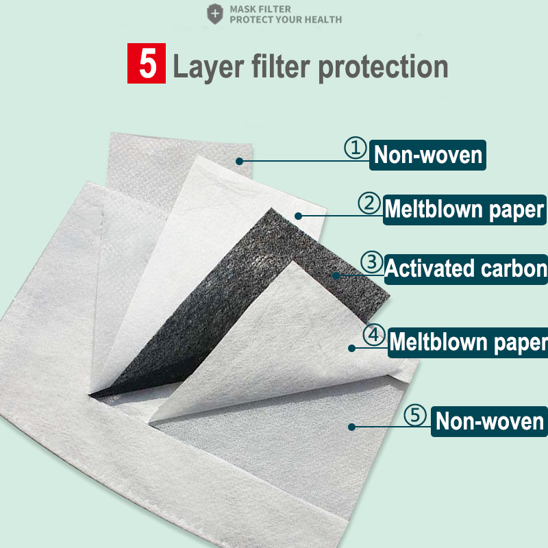 PM2.5 Mask Filter For Adults Kids 5-Layer Filtration 100/50/30/20/10PCS Face Masks Activated Carbon Filter 1