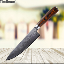 Timhome 8 inch Damascus Knife Chef 67 layers Steel Kitchen Knives Slicing knife with Color Wood Handle