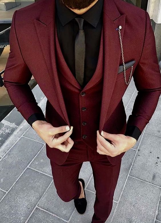 Wine Red Burgundy Wedding Suits For Men Groom Best Man Party Prom Blazer Slim Fit Smart Business Suit Men Costume Homme Mariage