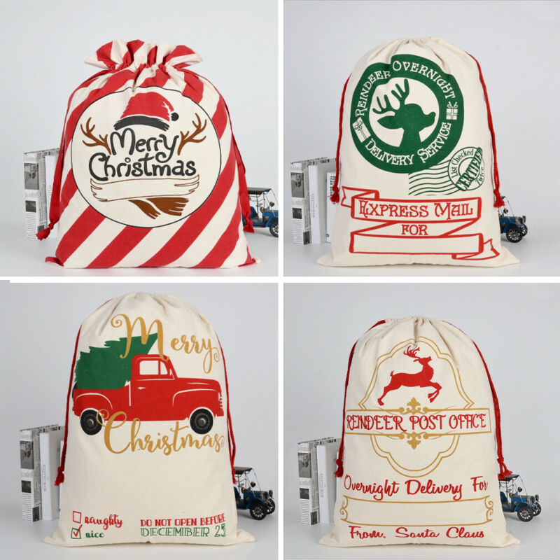 Boy's Christmas Gift Large Bag Xmas Candy Biscuit Hessian Canvas Child Girl  Santa Gift Sack Decoration  Box Drawstring Bags