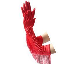 Женские длинные перчатки вечеринку латинский танец сексуальные кисточкой атласная парадные перчатки D0UF