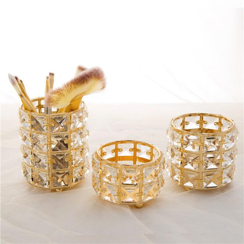 Mini Crystal Candlestick Creative Makeup Brush Storage Tube Eyebrow Pencil Jewelry Storage Box