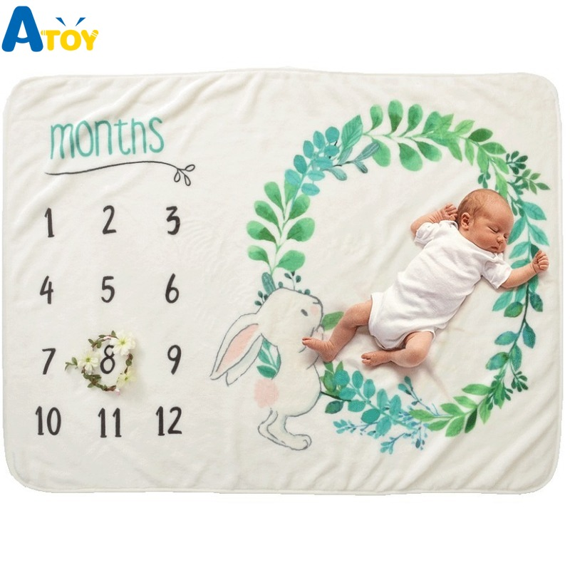 Newborn Baby Blankets 0-12 Monthly Milestone Mat Baby Souvenirs Blanket Baby Blanket Photography Props
