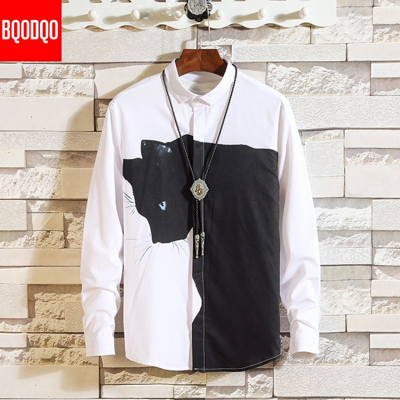 White Black Funny Cat Cartoon Print Shirt Men Fashion Long Sleeve Autumn Loose Tops Male Streetwear Casual Shirts Plus Size New