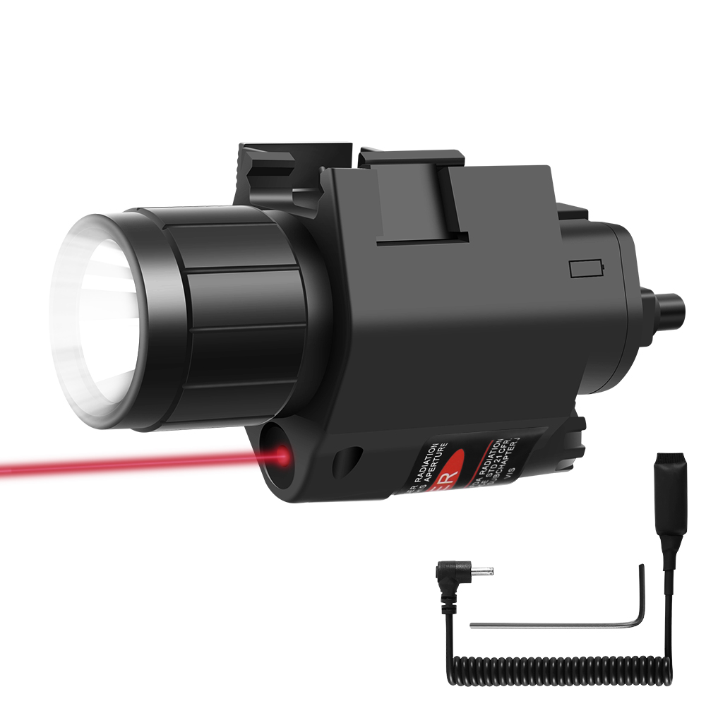 Tactical LED Weapon Gun Light Flashlight with Remote Switch Red Dot Laser Sight Military Airsoft Pistol Gun Light for 20mm Rail