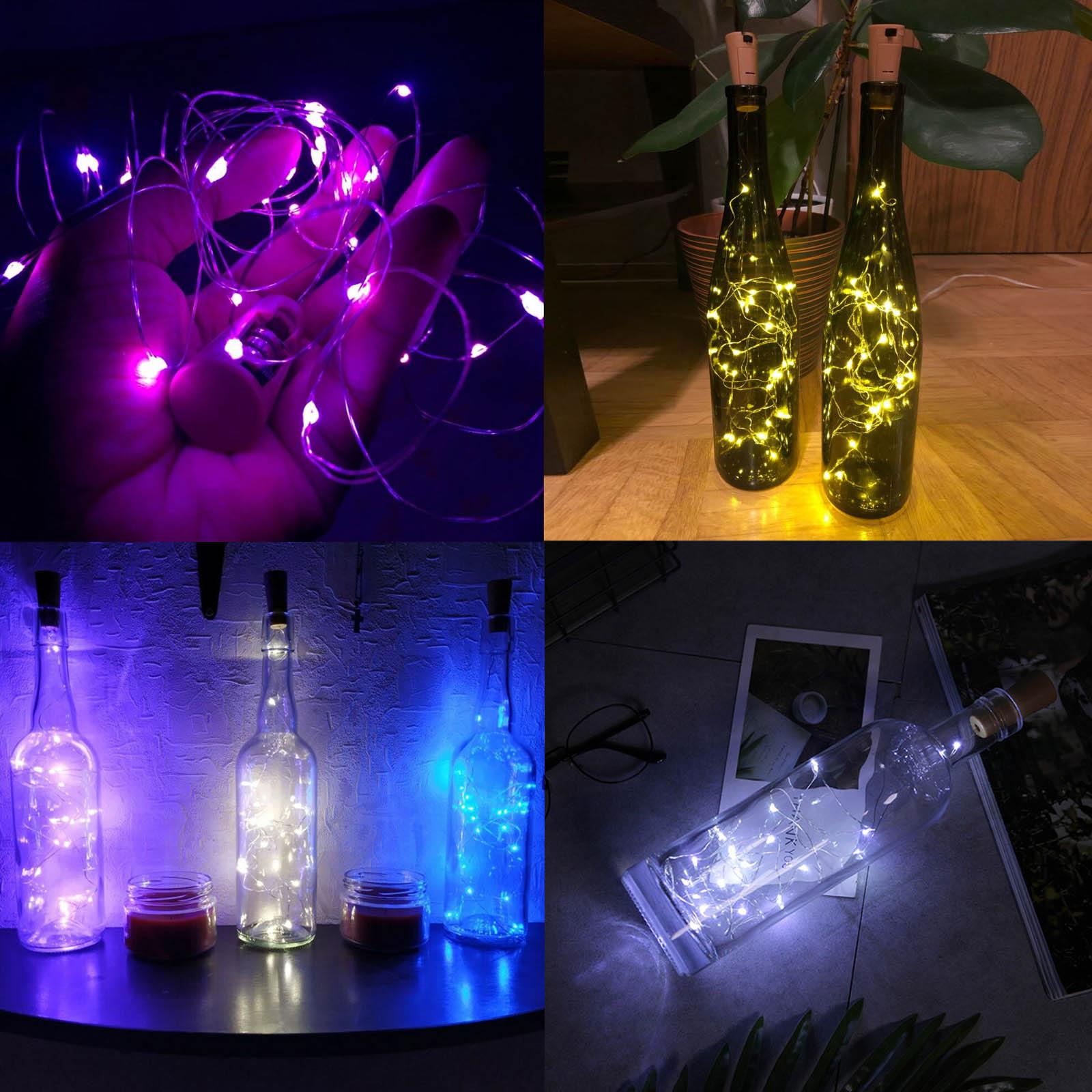 1M 10Led 2M 20Led Glass Wine LED String Light Cork Shaped Wine Bottle Stopper Fairy Light Lamp Xmas Party Decor LR44 Battery