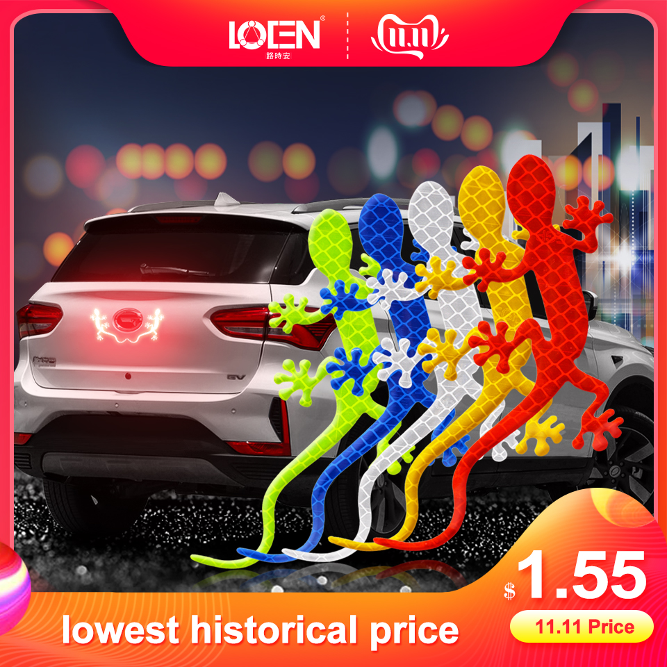 2Pcs Reflective Car Sticker Safety Warning Mark Reflective Tape Auto Exterior Accessories Gecko Reflective Strip Light Reflector-in Car Stickers from Automobiles & Motorcycles