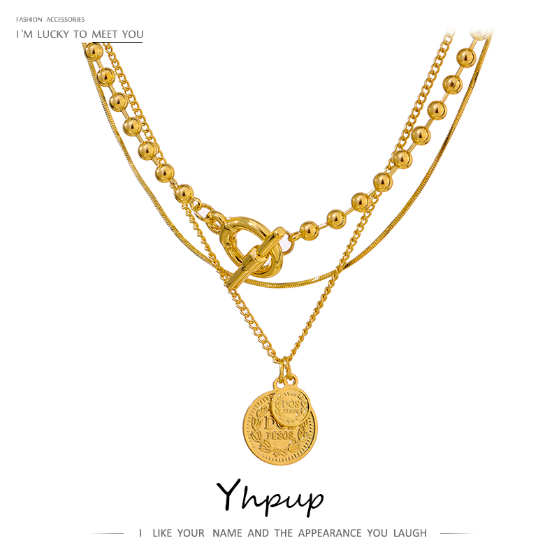 Yhpup Statement Layered Pendant Round Portrait Chain Necklace For Women Copper Choker подвеска Necklace Summer Jewelry Gift 2021