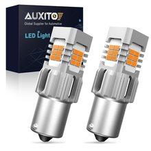 AUXITO-Lámpara LED de intermitente para coche, Luz Ámbar, 2 uds. BA15S 1156, Canbus W21W T20 7440 W21W WY21W T25 3156 P27W