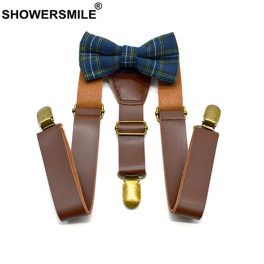SHOWERSMILE Kids Suspenders With Bow Tie Leather British Style Boys Suspenders Vintage Wedding Brown Children Braces 75cm*2.5cm