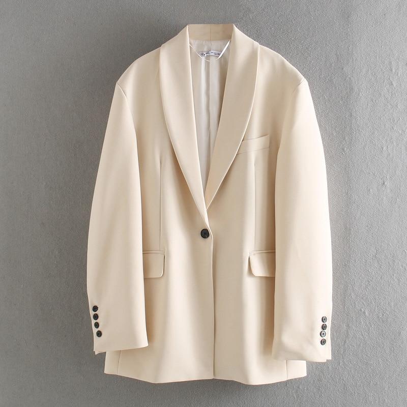 Elegant Women Loose Beige Blazer 2020 Spring-autumn Fashion Ladies Long Sleeve Suits Coats Casual Female Chic Blazers Coat Girls