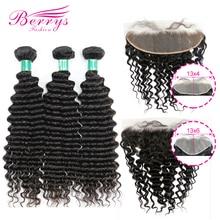 Модные волнистые пучки Berrys с 13x4 и 13x6 фронтальными 10 28 дюймов, 100% Необработанные малазийские человеческие волосы для плетения
