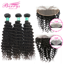 Berrys Fashion Deep Wave Bundles With 13x4 & 13x6 Frontal 10 28inch 100% Unprocessed Malaysia Human Hair Weave