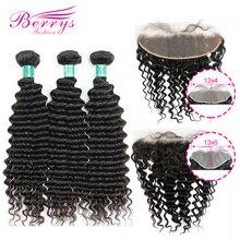 Berrys moda derin dalga demetleri ile 13x4 ve 13x6 Frontal 10 28 inç 100% işlenmemiş malezya insan saçı örgüsü